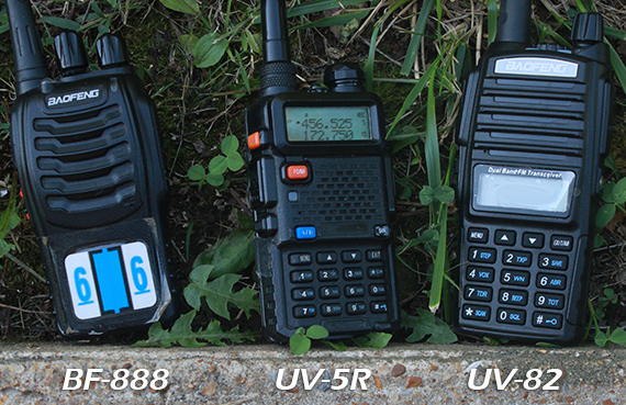 Baofeng BF-888, UV-5R, and UV-82