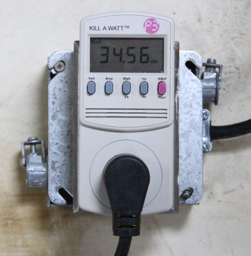 A Kill-a-watt meter showing how much my chest freezer has used.